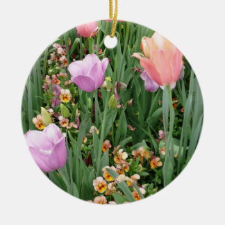 Tulips and Pansies Round Ceramic Decoration