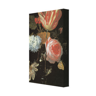 Tulips and Passion Flowers Wrapped Canvas Print