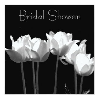 Tulips, B&W Bridal Shower Invitations