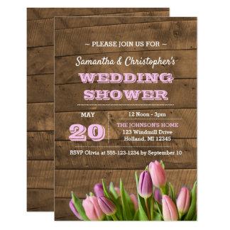 Tulips & Barnwood Wedding Shower Invitation