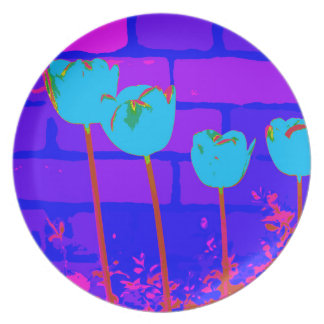 TULIPS BLUE PARTY PLATES