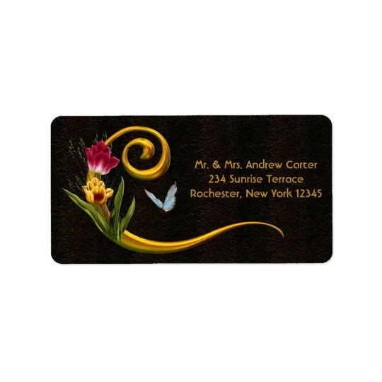 Tulips Butterfly Letter C Monogram Address Labels