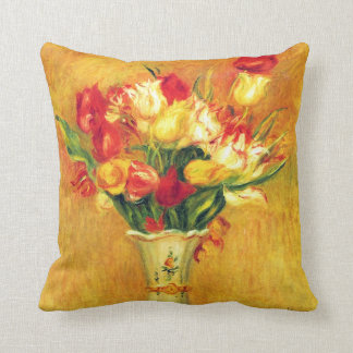 Tulips by Pierre Renoir, Vintage Impressionism Art Throw Pillow
