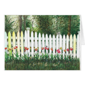 Tulips by the white fence card