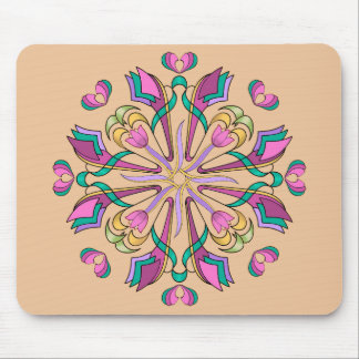Tulips Circle on Beige - Mouse Pad
