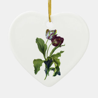 Tulips Drawn From Nature by Gerard van Spaendonck Ceramic Heart Decoration