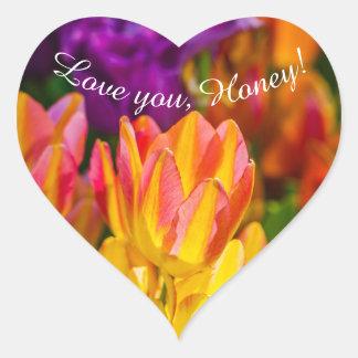 Tulips Enchanting Love you, Honey! Heart Sticker