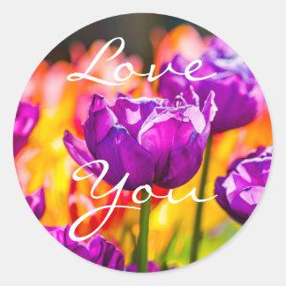 Tulips Enchanting Purple Classic Round Sticker