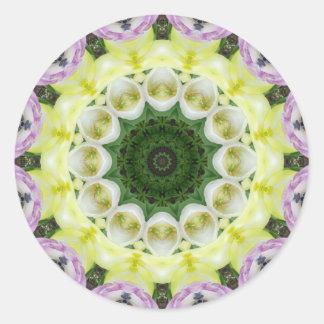 Tulips Flower Mandala, Floral mandala-style Round Sticker
