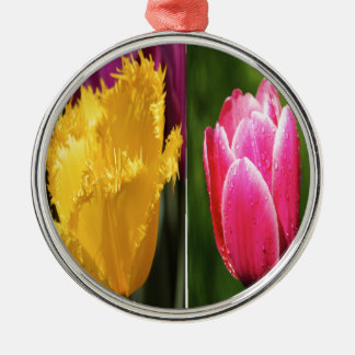 Tulips Flowers Silver-Colored Round Decoration