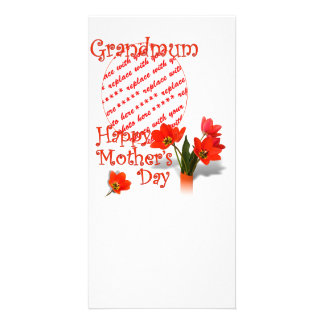 Tulips for Mother's Day For Grandmum PhotoFrame Personalized Photo Card