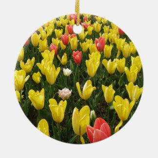 Tulips from Holland, Springtime at Keukenhof Round Ceramic Decoration
