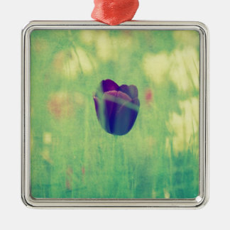 Tulips greeting Silver-Colored square decoration