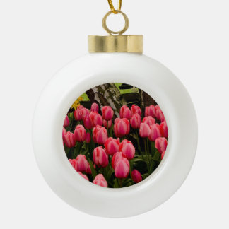 Tulips in full bloom. ceramic ball christmas ornament