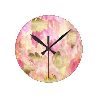 Tulips in gold round clock