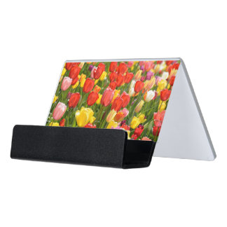 Tulips in the Garden Desk Business Card Holder
