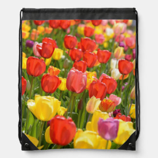 Tulips in the Garden Drawstring Bag