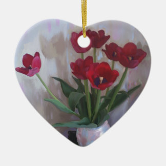Tulips in vase christmas tree ornament