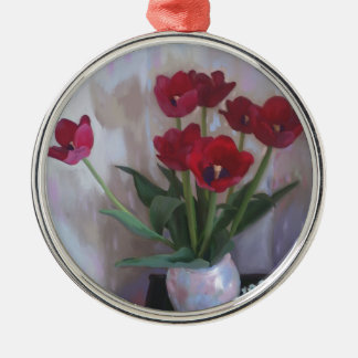 Tulips in vase christmas tree ornaments