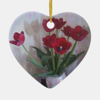 Tulips in vase christmas tree ornament