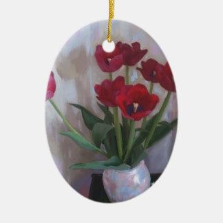 Tulips in vase ornaments