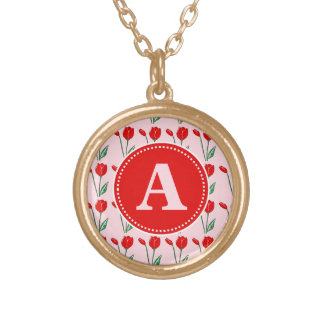 Tulips Light Pink and Red Monogram Necklace