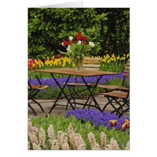 Tulips of table in garden, Keukenhof Gardens, Card