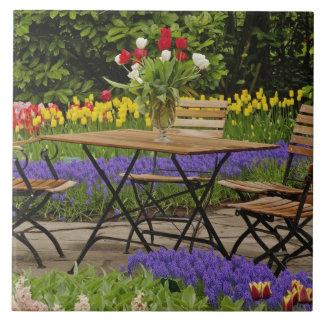 Tulips of table in garden, Keukenhof Gardens, Large Square Tile