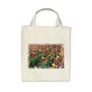 Tulips Organic Grocery Tote Canvas Bags
