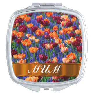 Tulips personalized mom compact mirror