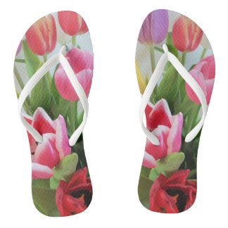 Tulips Pink Green Red Flower Floral Photography Thongs