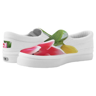 Tulips Pink Green Yellow Flower Floral Photography Slip On Shoes