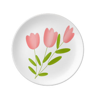 tulips pink plate