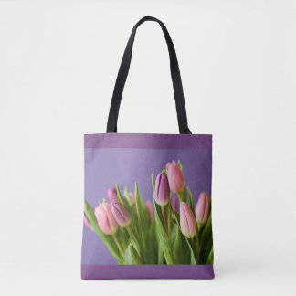 tulips pretty pink flower photography tote bag