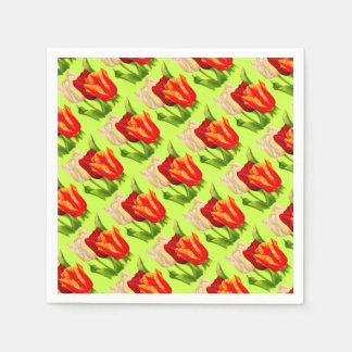tulips print disposable napkins