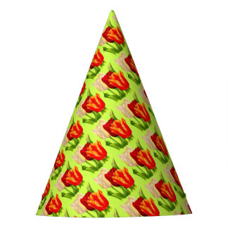 tulips print party hat