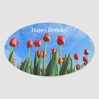 Tulips red flowers happy birthday oval stickers