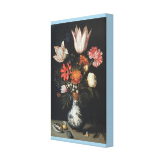 Tulips, Roses, a Pink and White Carnation, Forgets Canvas Print