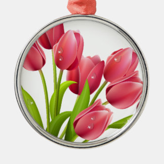 Tulips Silver-Colored Round Decoration