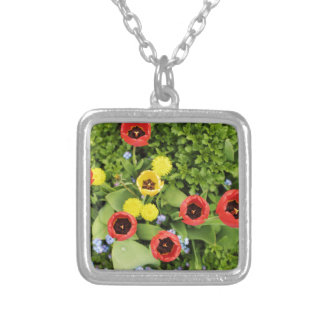 tulips silver plated necklace