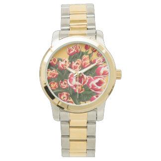 Tulips Two Tone Bracelet Watch