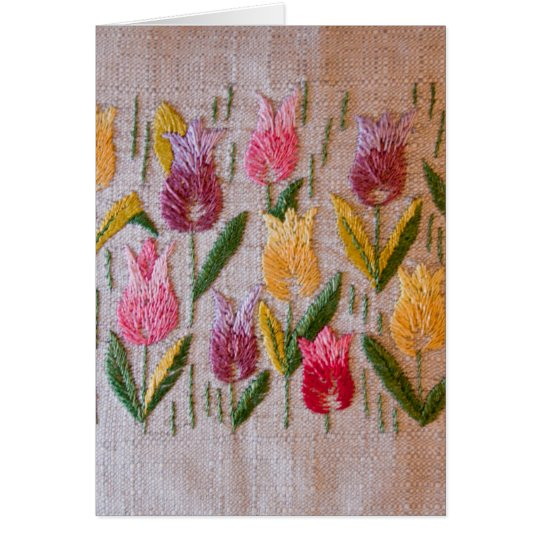 Tulips vintage embroidery card