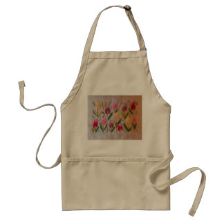 Tulips vintage embroidery standard apron
