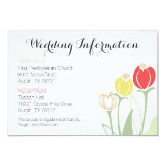 Tulips Wedding Information Card | Bright Colors 9 Cm X 13 Cm Invitation Card