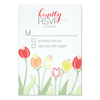Tulips Wedding RSVP   Bright Colors Card