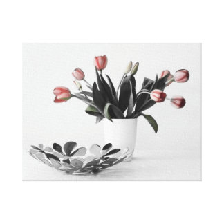 Tulips with bowl gallery wrapped canvas