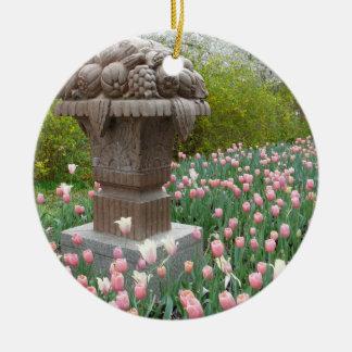 Tulips with Fruit Bowl Sculpture Round Ceramic Decoration