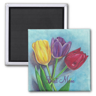 Tulips yellow red violet art Print Square Magnet