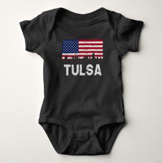 Tulsa OK American Flag Skyline Distressed Baby Bodysuit