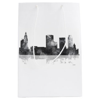 TULSA, OKLAHOMA SKYLINE B & W MEDIUM GIFT BAG